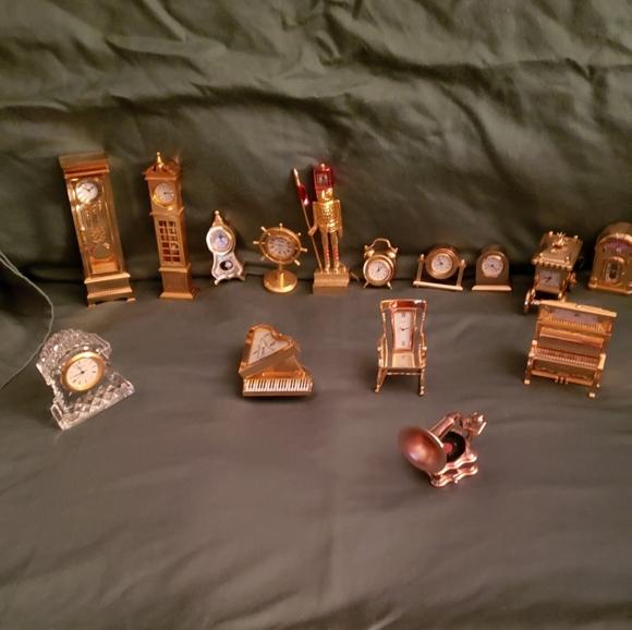 Bulova miniature brass clocks